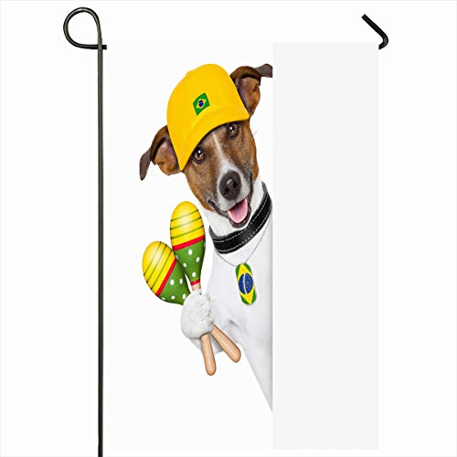 (Ahawoso Seasonal Garden Flag 12x18 Inches Brazil Alcohol Samba Dog Shakers Behind White Party Sports Recreation Beverage Blank Design Lime Home Decorative Outdoor Double Sided House Yard Sign)