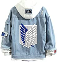 Anime Attack on Titan Denim Hoodie Jacket Women Men, Survey Corps Fake-two Button Down Jeans Coat Outerwear Co