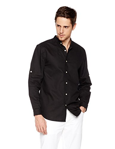 Shirts Xxl Band (Isle Bay Linens Men's Linen Cotton Blend Roll-up Long Sleeve Band Collar Woven Shirt Standard Fit XXL Black)