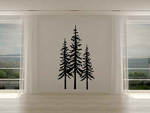 Pine Evergreen Trees Set of Three Vinyl Wall Decal ()