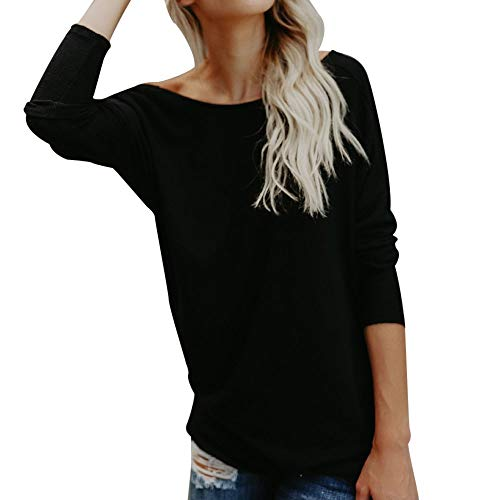 GHrcvdhw Womens Sexy Backless Solid O-Neck T-Shirt Ladies Casual Long Sleeve Cozy Slim Fit Blouses Tops Black