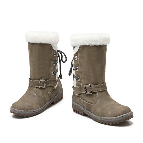 Snow Womens Khaki Flat Boots Boots Winter Warm Heels Fur Fashion Classics Shoes wO6x5dqO