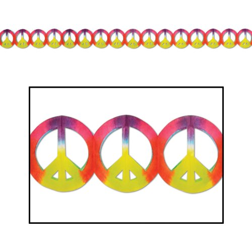 Peace Sign Garland (dip-dyed) Party Accessory  (1 count) (1/Pkg) ()