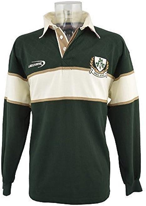 Lansdowne Camiseta de Manga Larga de Rugby de Irlanda Color Verde Botella/Natural 3 Tréboles - XXL: Amazon.es: Ropa y accesorios