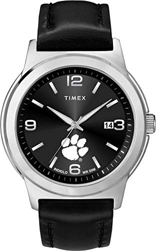 (Timex Men's Clemson University Tigers Watch Black Leather Band Ace)