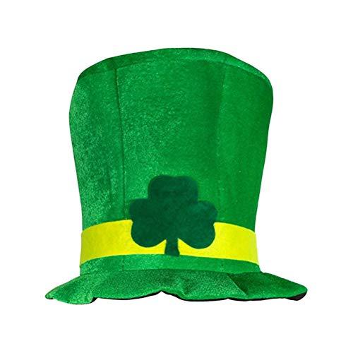 Amosfun St.Patricks Day Dress Cap Clover Velvet Top Hat Velour Topper Magic Cap Irish Festival Hair Accessory