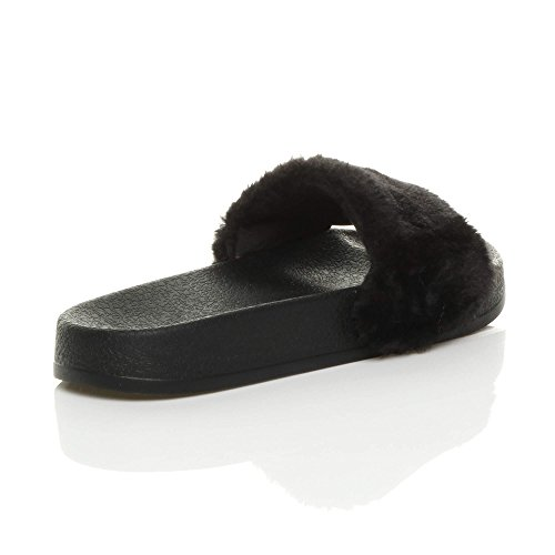Noir Pantoufles Claquettes Plat Pointure Fourrure Sandales Tongs Femmes Chaussons Mules Zzq7T4zw
