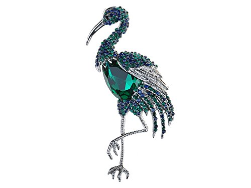 Alilang Vintage Emerald Green Sapphire Blue Heron Crane Flamingo Bird Animal Wedding Brooch Pin ()