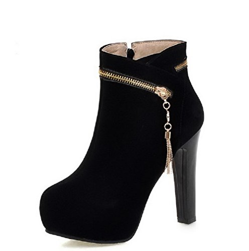 Heels Toe Solid Boots Frosted Women's AmoonyFashion Round Low Closed Top Black High wx1FXWCgq