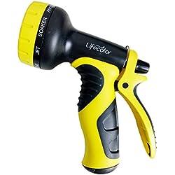 Lifecolor Garden Hose Nozzle, 9-Pattern Flow Control Heavy Duty Spray Nozzle for Patio, Lawn & Garden, Car Wash and Pets Showering