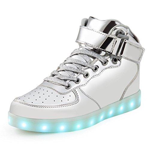 Bunte leuchtende Schuhe USB Lade Blitz Schuhe hoch, um Magie Board Schuhe zu helfen Silber High Top