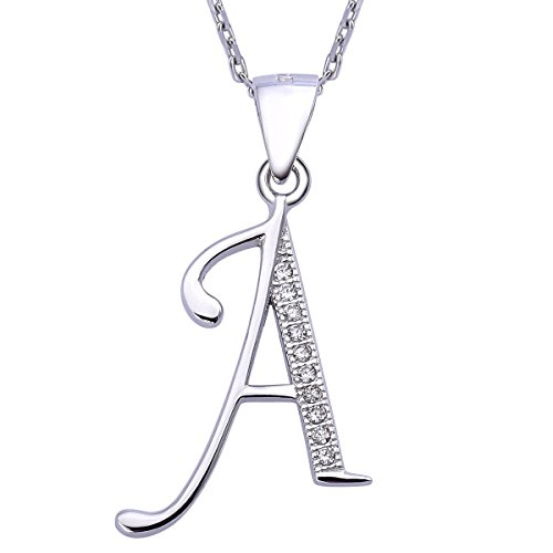 VIKI LYNN Letter A Initial Necklace 925 Sterling Silver Cubic Zirconia Alphabet Personalized Gifts for Women - Sterling Silver Initial Letter