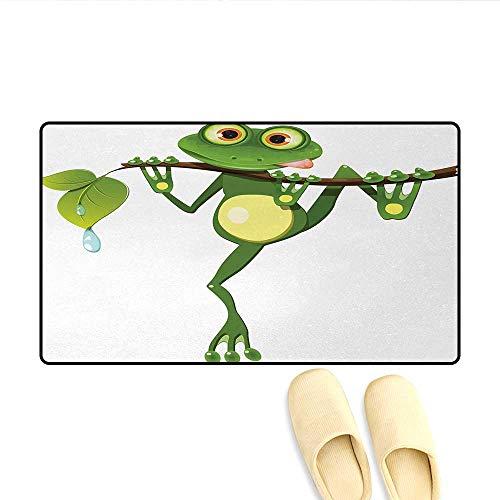 Door-mat,Little Frog on Branch of The Tree in