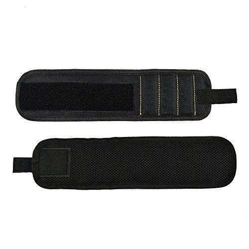 Huayang  Nylon Strong Magnetic Wristband Toolkit Screws Scissors Holder Storage Wrist Bracelet For Woodworking Diy Black