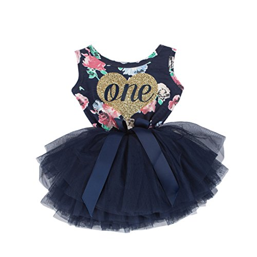 Grace & Lucille Navy Floral Sleeveless Baby Birthday Dress (Flat Heart Gold, 12-24 Months) -