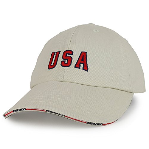 Cap Sandwich Unstructured - Armycrew USA Embroidered Washed Cotton Twill Unstructured Sandwich Bill Baseball Cap - Putty