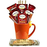 Tea Gifts – Includes Pumpkin Spice, Spiced Apple, French Vanilla, Chai Tea Bags, Tea Mug, Tea Bag Holder, Cookies, More – Tea Gift Set (Hot Tea – Fall Chai 1)