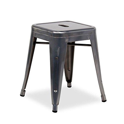 Nicer Furniture Set of 4- Tolix style Backless Metal Industrial Stack Stool 18