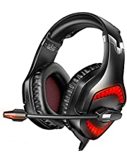 Gizori Gaming Headset with Stereo Sound, Noise Cancelling Mic and LED Light, Over Ear Headset with Soft Memory Earmuffs for Laptop PC Mac Super Nintendo PS4 PS5 Xbox One Controller