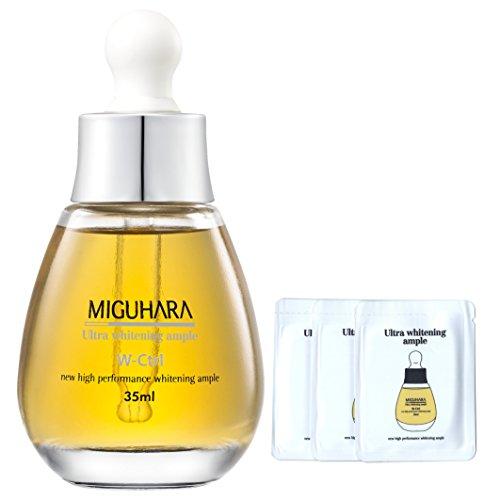 Miguhara Ultra Blanchiment Amplement 35ml, 1.18 fl. oz. avec 3 échantillons (6 ml) | Haute Performance Éclaircissants de Blanchiment Ampoule formulé avec de la Niacinamide de la Vitamine B3 Et de l'Allantoïne | Testé Cliniquement