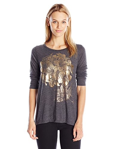 Lucky Brand Women's Gold Azalea Tee, Black Beauty, Medium