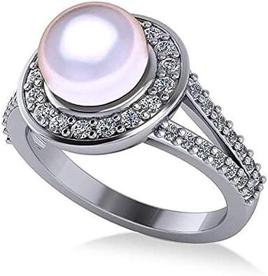 Anillo de compromiso con halo de perlas y diamantes en oro blanco de 14 k 8 mm (0.54ct), anillo de compromiso de oro para siempre, anillo de bodas, anillo de compromiso en oro