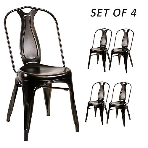 Merax Metal Dining Side Chair,Distressed Style Stackable Chic Cafe Bistro Chair,Set of 4