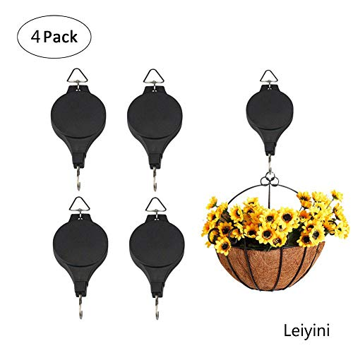 Pueri Retractable Plant Pulley Adjustable Hanging Planters Flower Basket Hook Hanger for Garden Baskets Pots Indoor Outdoor Decoration