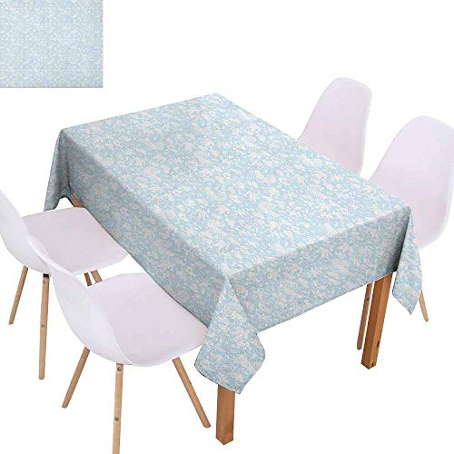- Marilec Washable Table Cloth Baby Hearts Background with Teddy Bears Strollers Infant Clothes Newborn Child Theme Washable Tablecloth W52 xL70 Pale Blue White