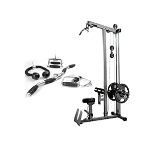 XMark Fitness Combo Offer LAT Pulldown and Low Row Cable Machine with Attachment Package of Single Grip Handles, Chinning Triangle, Tricep Rope, and Rotating Curl Bar