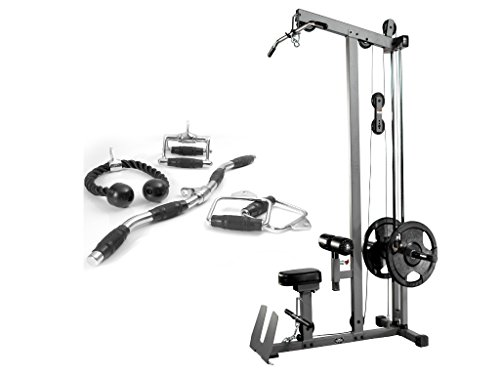 Combo Offer XMark Fitness Lat Pulldown and Low Row Cable machine with Attachment Package of Single Grip Handles, Chinning Triangle, Tricep Rope, and Rotating Curl Bar