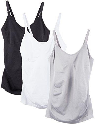 Caramel Cantina 3 Pack Women's Nursing Cami Built in Bra (Small, Black/Wh/Char)