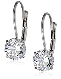 10k White Gold Leverback Earrings Made with Round-Cut Swarovski Zirconia (2 cttw)