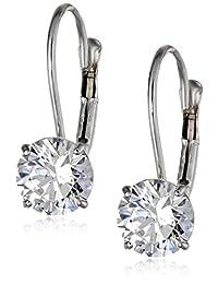 10k Gold Swarovski Zirconia Dangle Earrings (2 cttw)