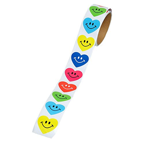 100 Smile Heart Roll Stickers