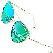 CGID Women's Modern Fashion Mirror Polarized Cat Eye Sunglasses Oversized Goggles U