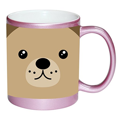 Teddy Bear Face Cute PINK 11 ounce Ceramic Coffee Mug Tea Cup by Moonlight Printing