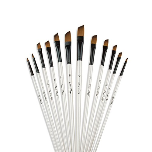 Angular Artist Brush Set - Acrux7 Art Paint Brush Set 12pcs Angular for Oil, Watercolor, Acrylic, Craft, Nail, Face Painting