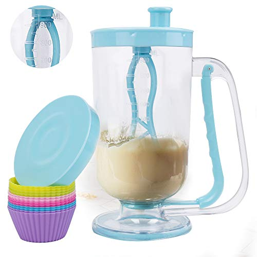 2-in-1 Pancake/Batter/Cupcake Dispenser-Great for Cupcakes,Pancakes,Muffins,Crepes,Cakes,Waffles and Any Baked Goods (Blue)