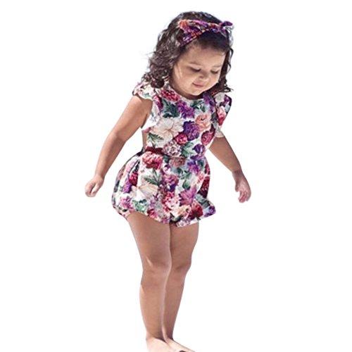 ab53199d4663 Amazon.com  KONFA Toddler Newborn Baby Girls Ruffles Romper+Flowers ...