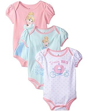 Baby Girls' Cinderella Bodysuit (Pack of 3)
