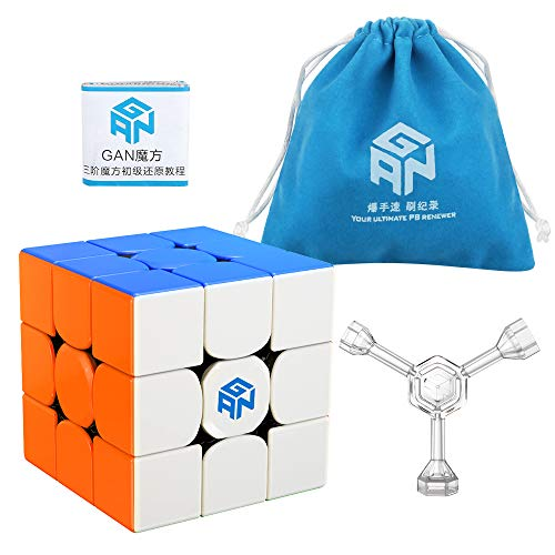 Coogam GAN 356 R Speed Cube Gans 356R 3x3 Stickerless Gan356 R 3x3x3 Speedcube GES V3 System with Extra Blue Pouch