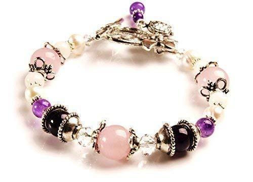 Nixi Fertility and Pregnancy Bracelet Featuring Natural Gemstones Rose Quartz, Amethyst, Moonstone, Crystal Healing Jewelry