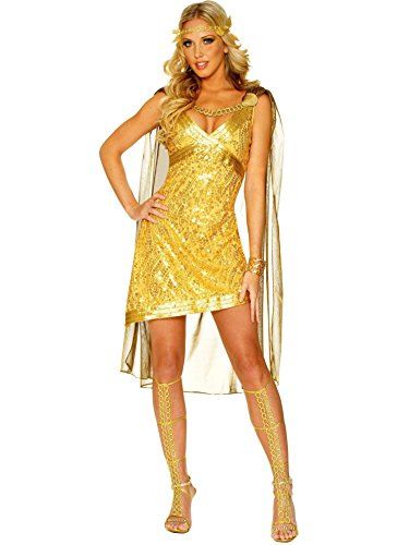 Girls Golden Goddess Costumes (Golden Goddess Costume - Large - Dress Size 12-14)