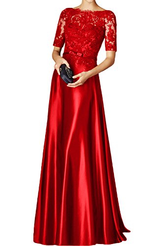 MILANO BRIDE Elegant Prom Pageant Dress With Sleeves A-Line Illusion-Neck (Charmeuse Prom Dresses)