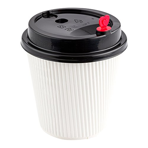 Disposable Black BPA Free Coffee Cup Lid With Red Heart Stopper Plug - Fits 8-OZ, 12-OZ and 16-OZ Cups: Perfect for Coffee Shops and Restaurant Takeout - Recyclable - 50ct -