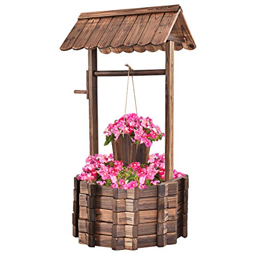 Giantex Outdoor Wooden Wishing Well Bucket Flower Plants Planter Patio Garden Home ()