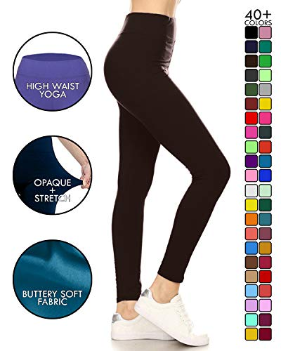 LYR128-BROWN Yoga Solid Leggings, One Size