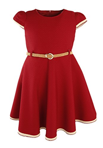 Lilax Little Girls' Textured Solid Flowing Dress with Belt 9 Burgundy (School Girl Fancy Dress Ideas)