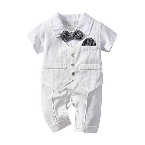 Baby Boy Outfits Set, Long Sleeves Gentleman Bow Tie Suspenders Pants(White 70cm)